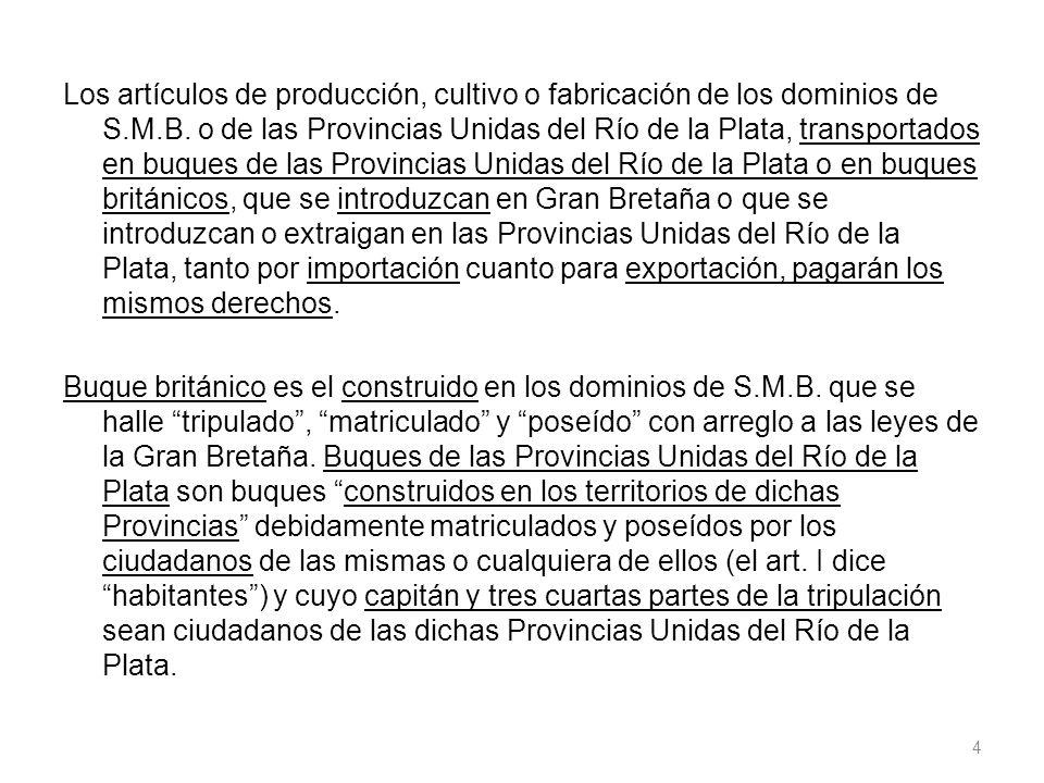 Los artículos de producción, cultivo o fabricación de los dominios de S.M.B.