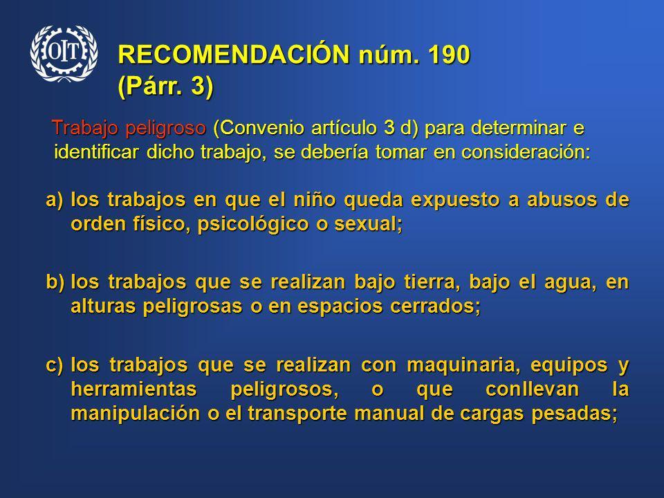 RECOMENDACIÓN núm. 190 (Párr. 3)