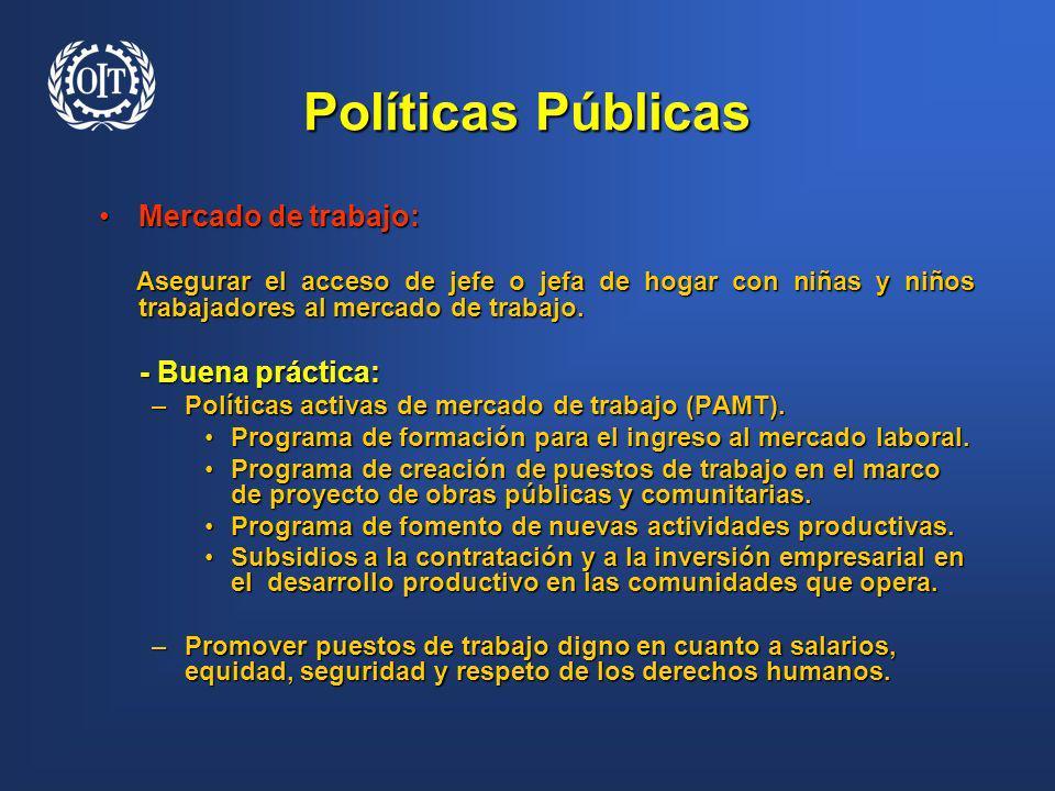 Políticas Públicas Mercado de trabajo: - Buena práctica: