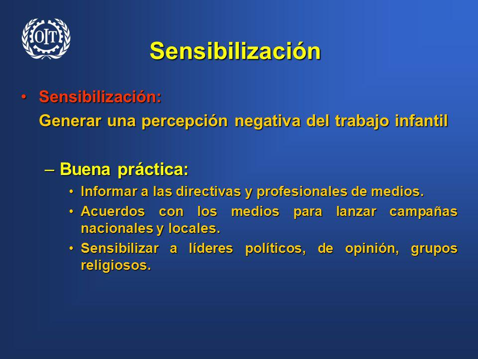 Sensibilización Buena práctica: Sensibilización: