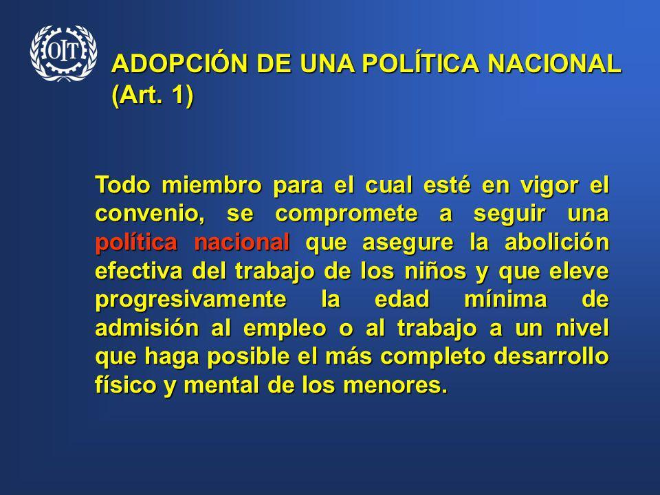 ADOPCIÓN DE UNA POLÍTICA NACIONAL (Art. 1)