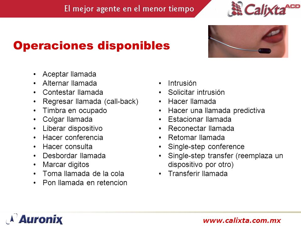 Operaciones disponibles