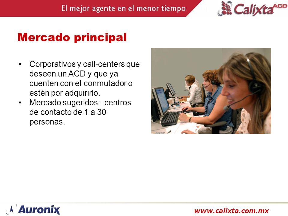 Mercado principalCorporativos y call-centers que deseen un ACD y que ya cuenten con el conmutador o estén por adquirirlo.