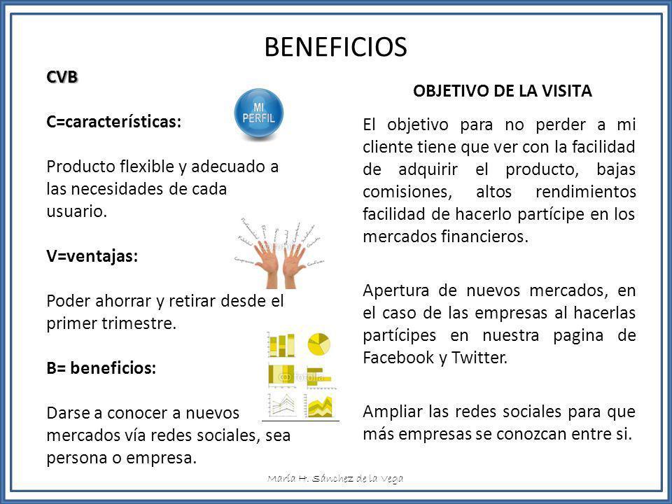 BENEFICIOS CVB OBJETIVO DE LA VISITA C=características: