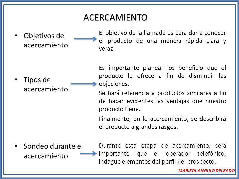 ACERCAMIENTO Objetivos del acercamiento. Tipos de acercamiento.