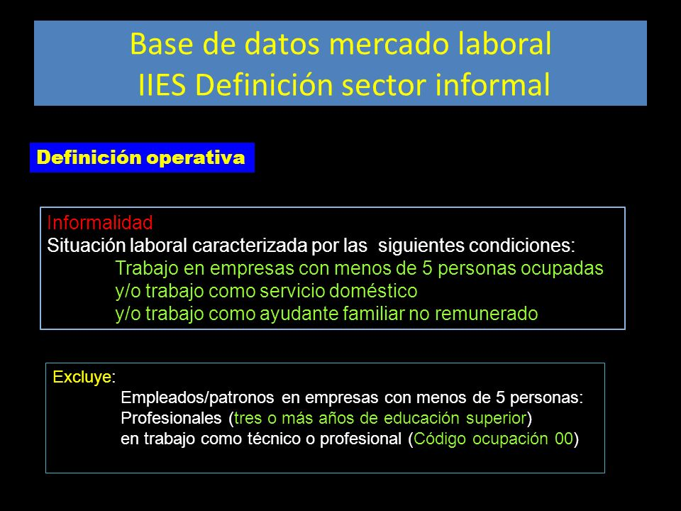 Base de datos mercado laboral IIES Definición sector informal