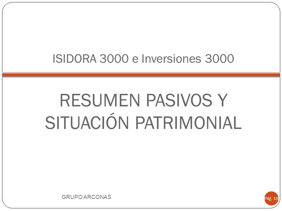 ISIDORA 3000 e Inversiones 3000 RESUMEN PASIVOS Y SITUACIÓN PATRIMONIAL
