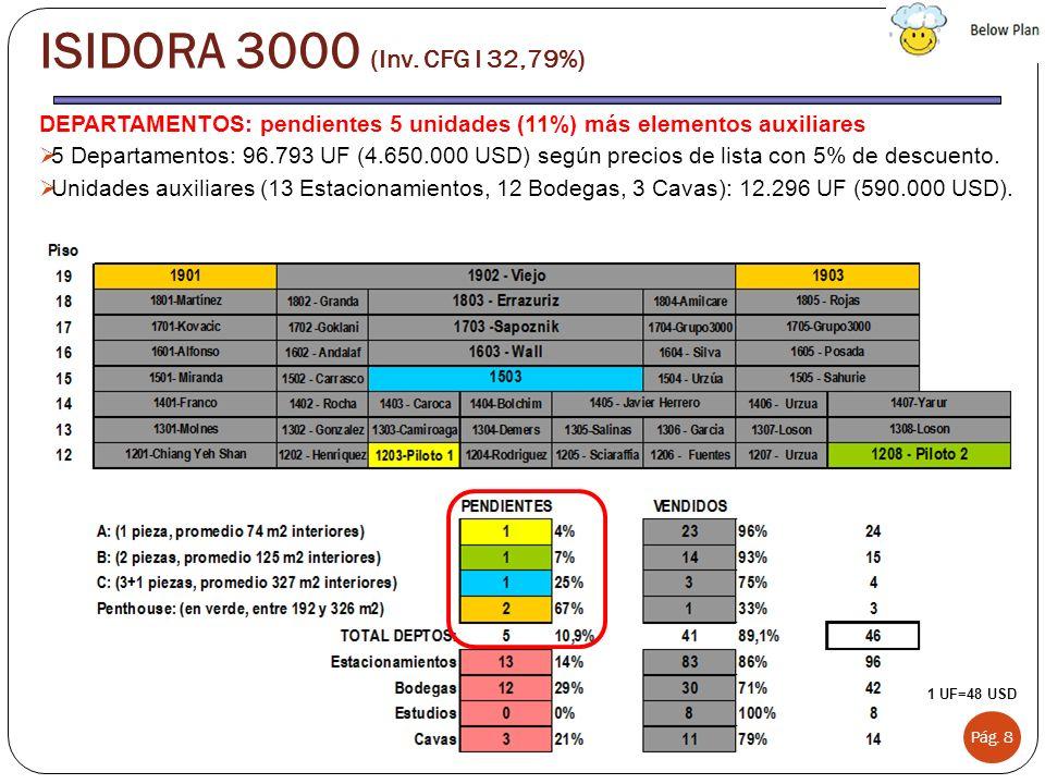 ISIDORA 3000 (Inv. CFG I 32,79%) DEPARTAMENTOS: pendientes 5 unidades (11%) más elementos auxiliares.