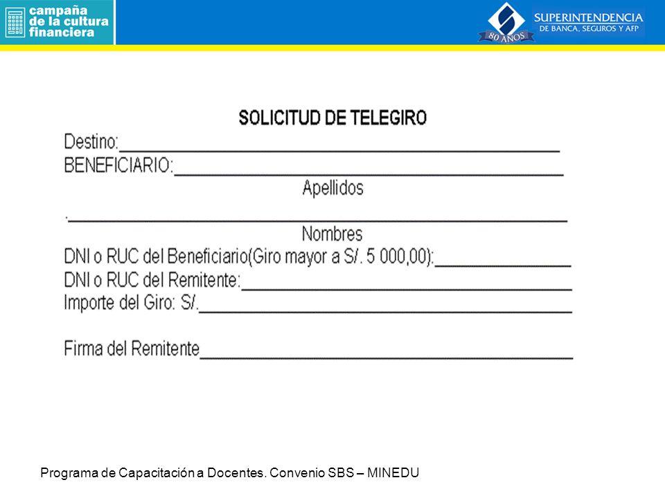Programa de Capacitación a Docentes. Convenio SBS – MINEDU