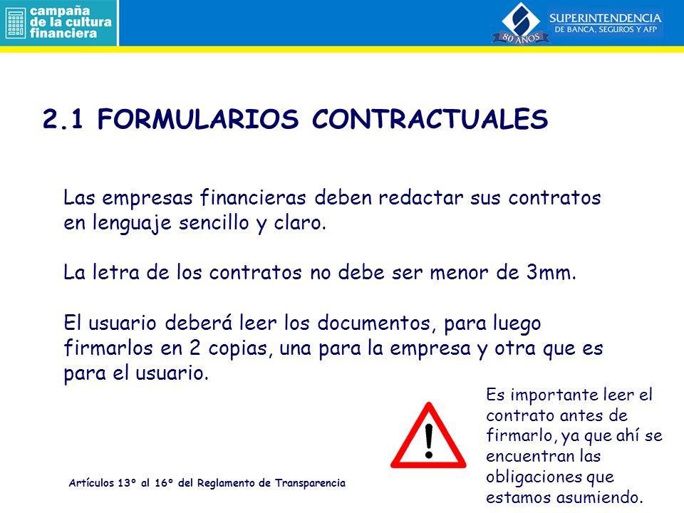2.1 FORMULARIOS CONTRACTUALES