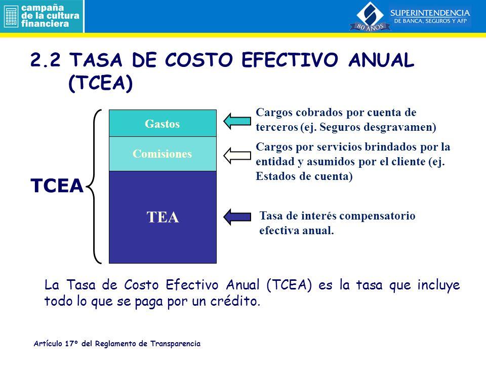 2.2 TASA DE COSTO EFECTIVO ANUAL (TCEA)