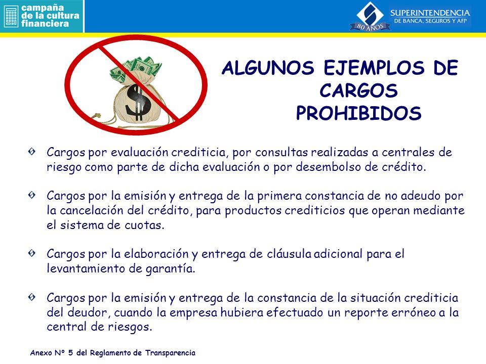 ALGUNOS EJEMPLOS DE CARGOS PROHIBIDOS
