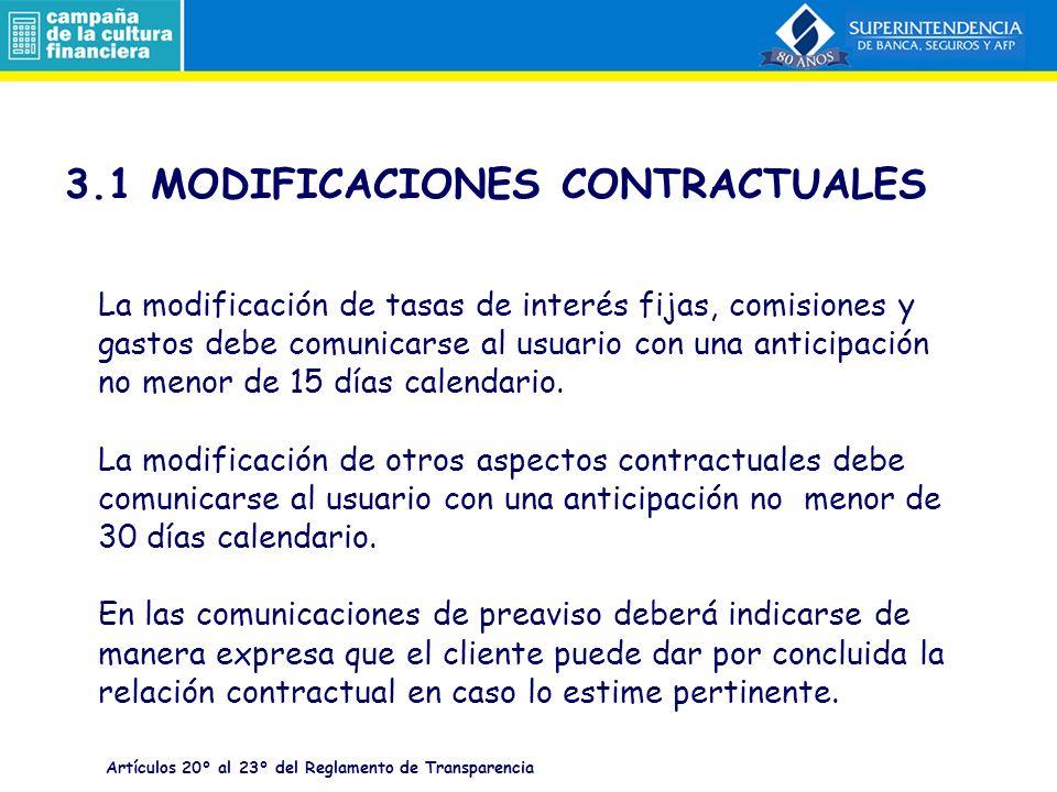 3.1 MODIFICACIONES CONTRACTUALES