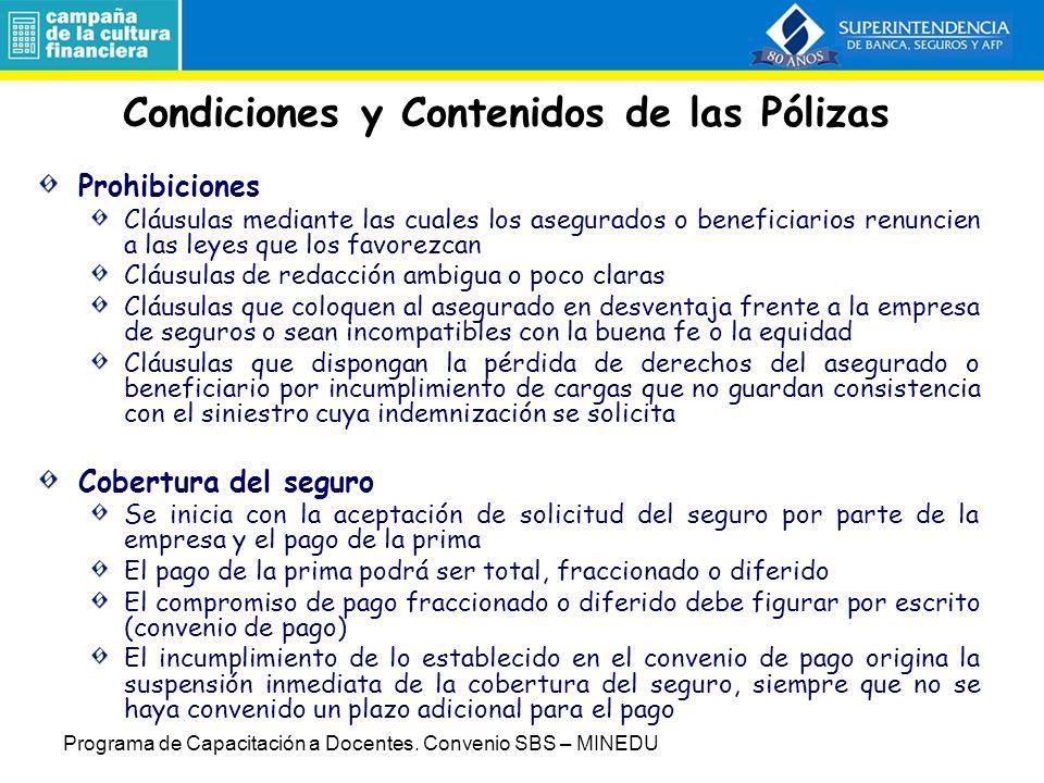 Condiciones y Contenidos de las Pólizas