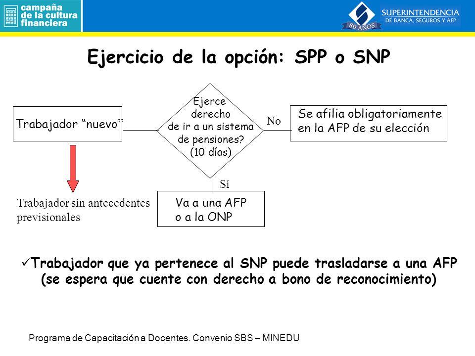 Ejercicio de la opción: SPP o SNP