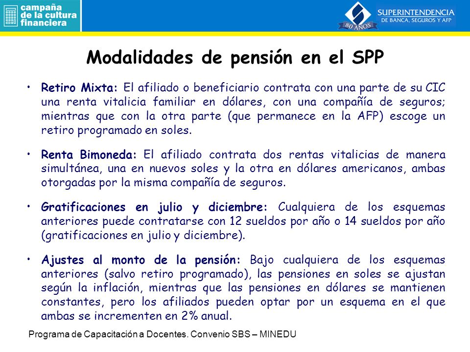 Modalidades de pensión en el SPP