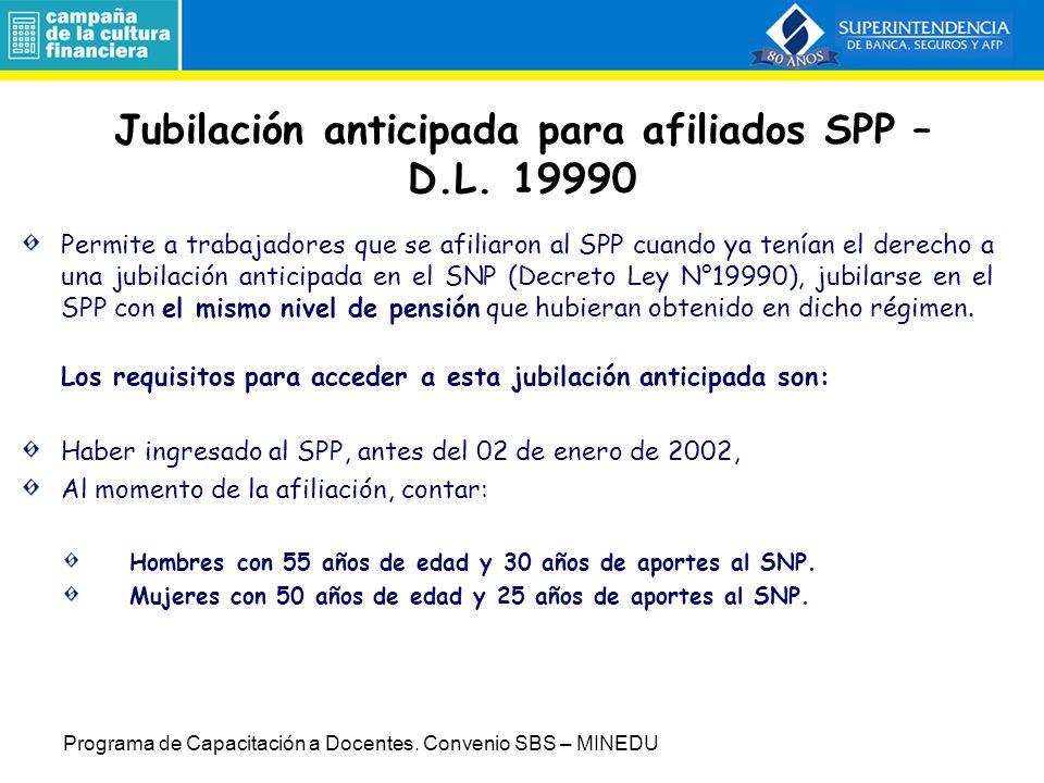 Jubilación anticipada para afiliados SPP – D.L. 19990