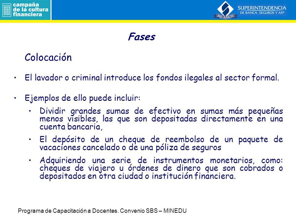 Fases Colocación. El lavador o criminal introduce los fondos ilegales al sector formal. Ejemplos de ello puede incluir: