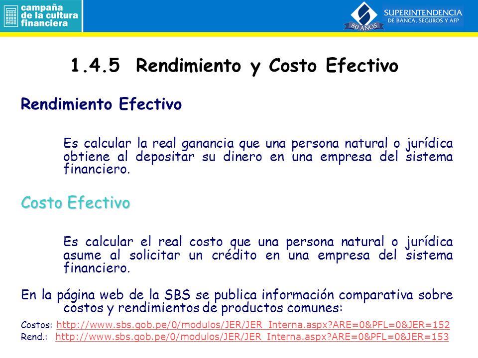 1.4.5 Rendimiento y Costo Efectivo