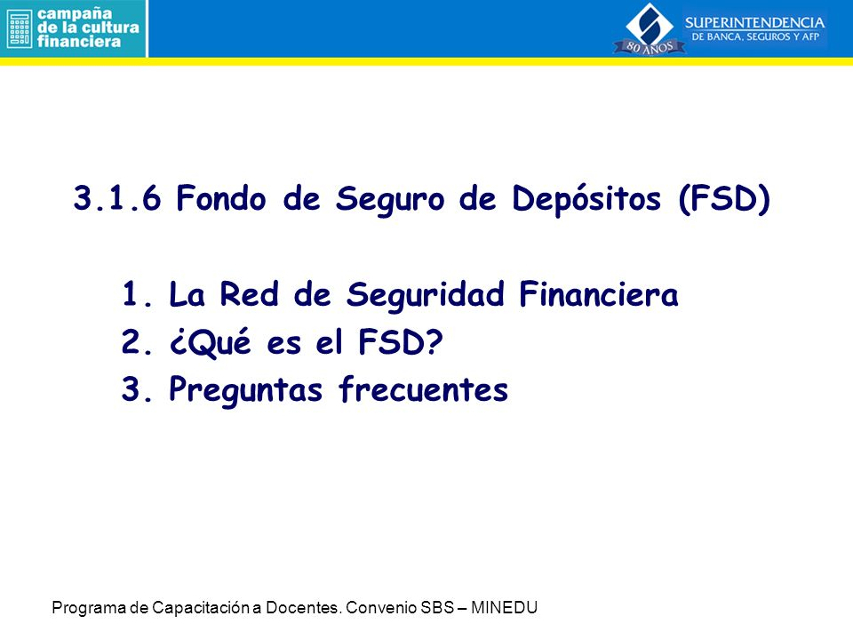 3. 1. 6 Fondo de Seguro de Depósitos (FSD) 1