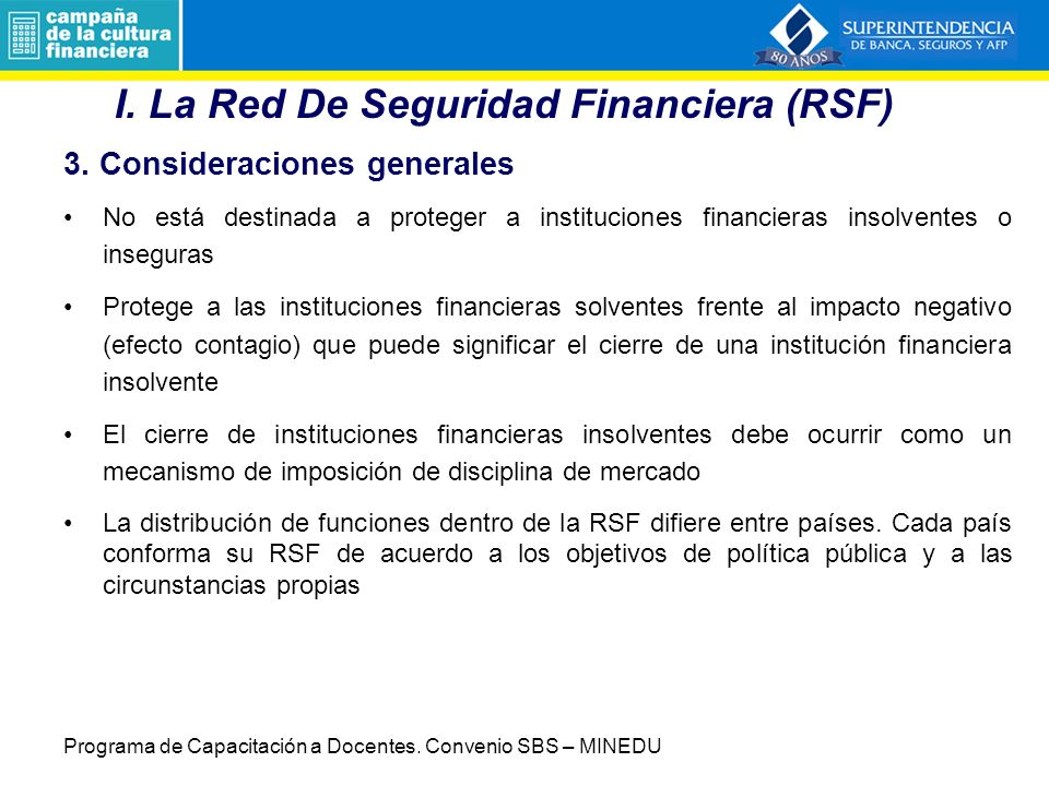 I. La Red De Seguridad Financiera (RSF)