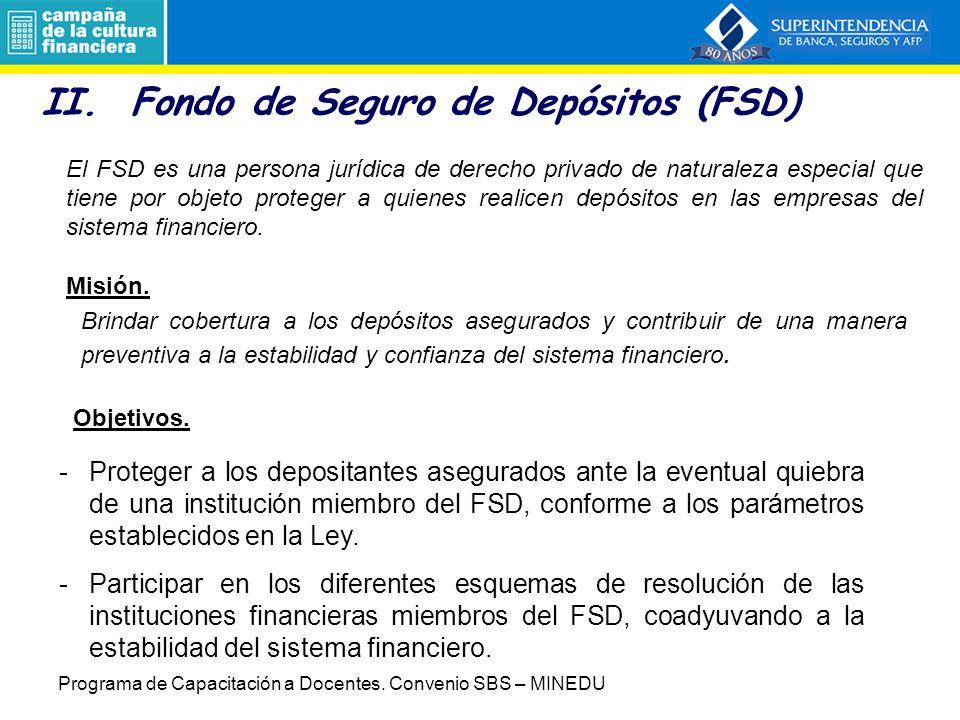 II. Fondo de Seguro de Depósitos (FSD)
