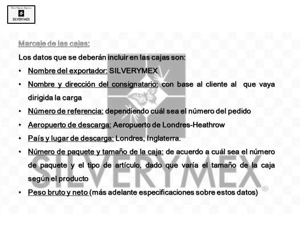 Marcaje de las cajas: Los datos que se deberán incluir en las cajas son: Nombre del exportador: SILVERYMEX.