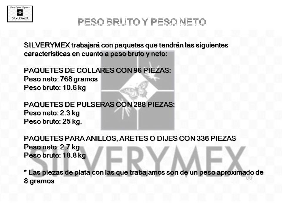 PESO BRUTO Y PESO NETO SILVERYMEX trabajará con paquetes que tendrán las siguientes características en cuanto a peso bruto y neto: