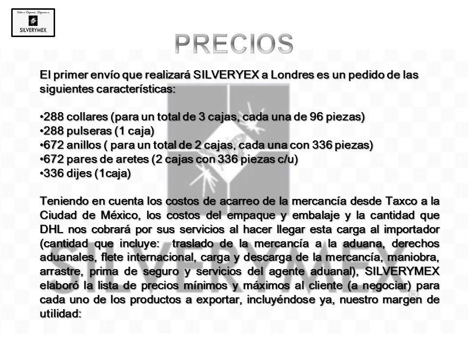 PRECIOS El primer envío que realizará SILVERYEX a Londres es un pedido de las siguientes características: