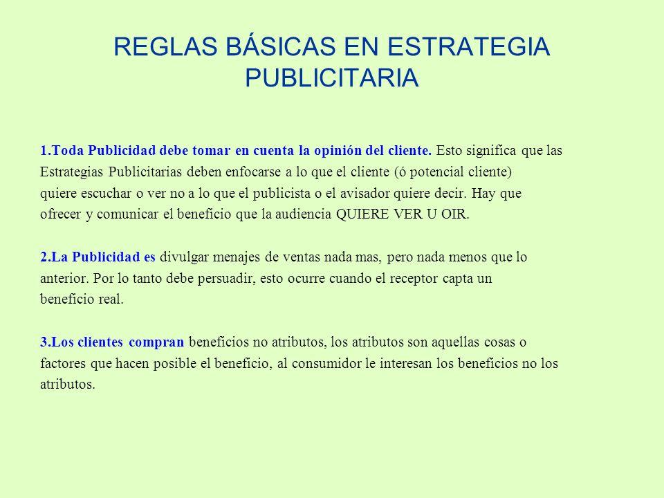 REGLAS BÁSICAS EN ESTRATEGIA PUBLICITARIA