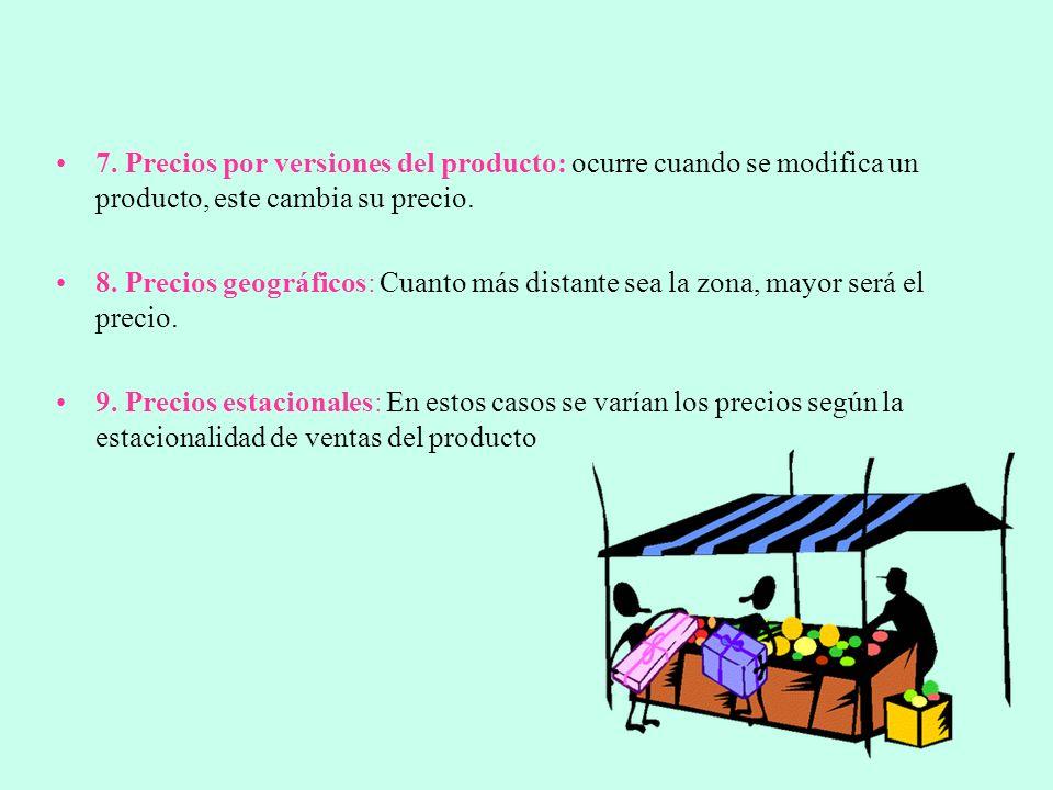 7. Precios por versiones del producto: ocurre cuando se modifica un producto, este cambia su precio.