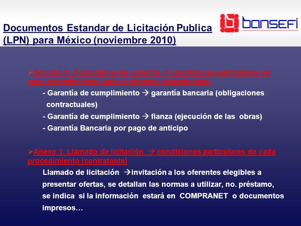 Documentos Estandar de Licitación Publica (LPN) para México (noviembre 2010)