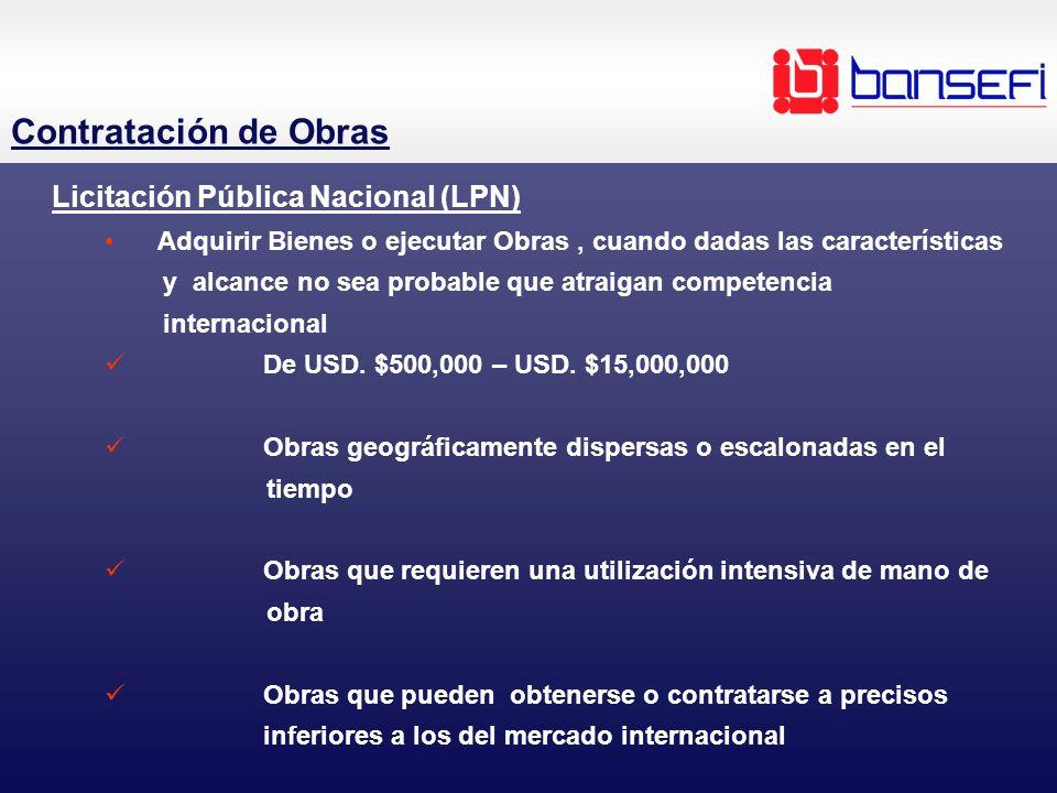 Contratación de Obras Licitación Pública Nacional (LPN)