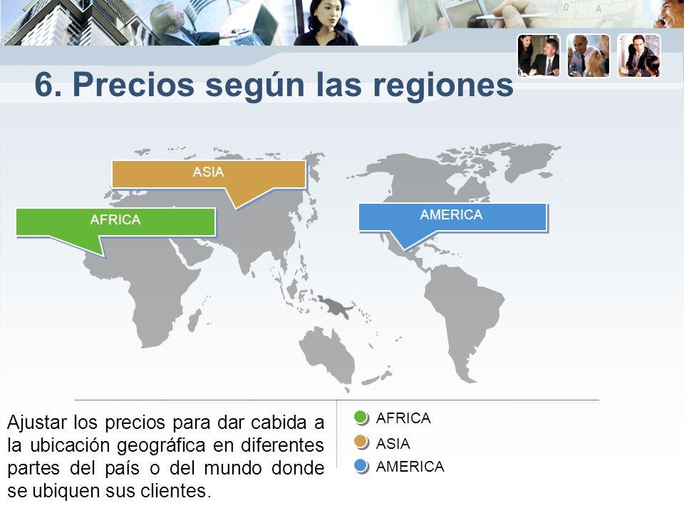 6. Precios según las regiones