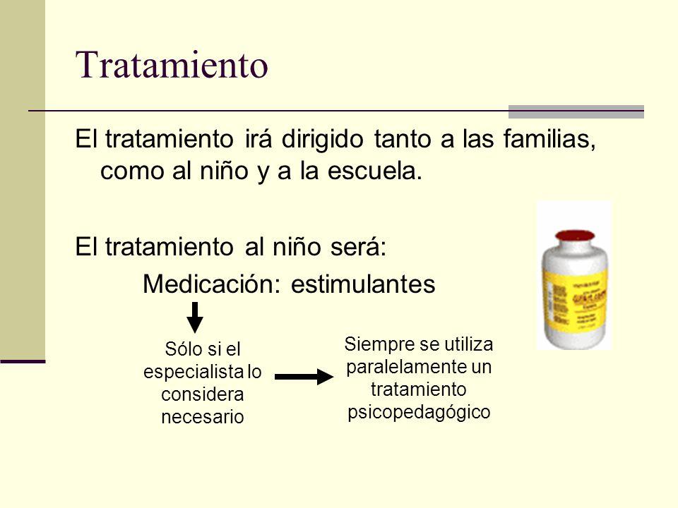Tratamiento El tratamiento irá dirigido tanto a las familias, como al niño y a la escuela. El tratamiento al niño será: