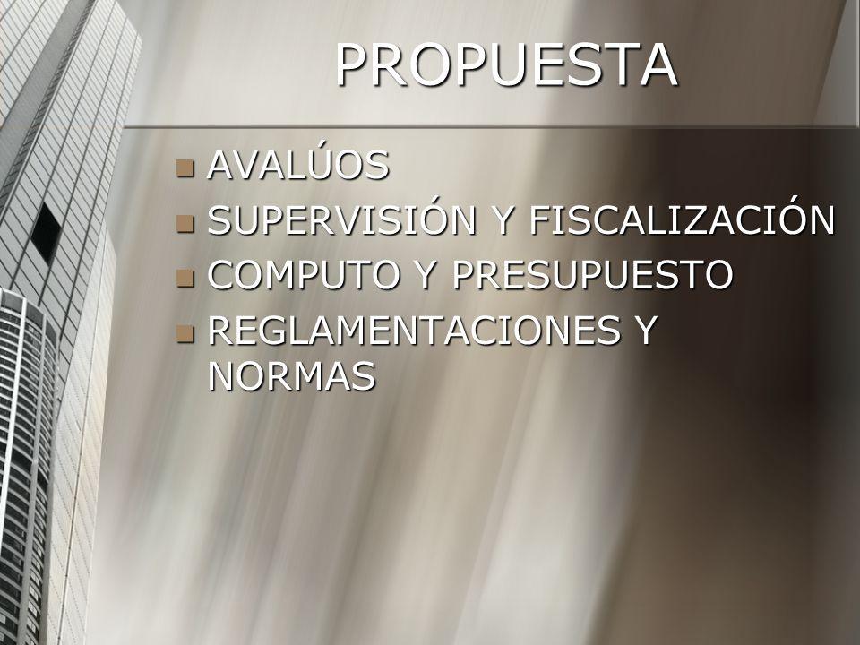 PROPUESTA AVALÚOS SUPERVISIÓN Y FISCALIZACIÓN COMPUTO Y PRESUPUESTO