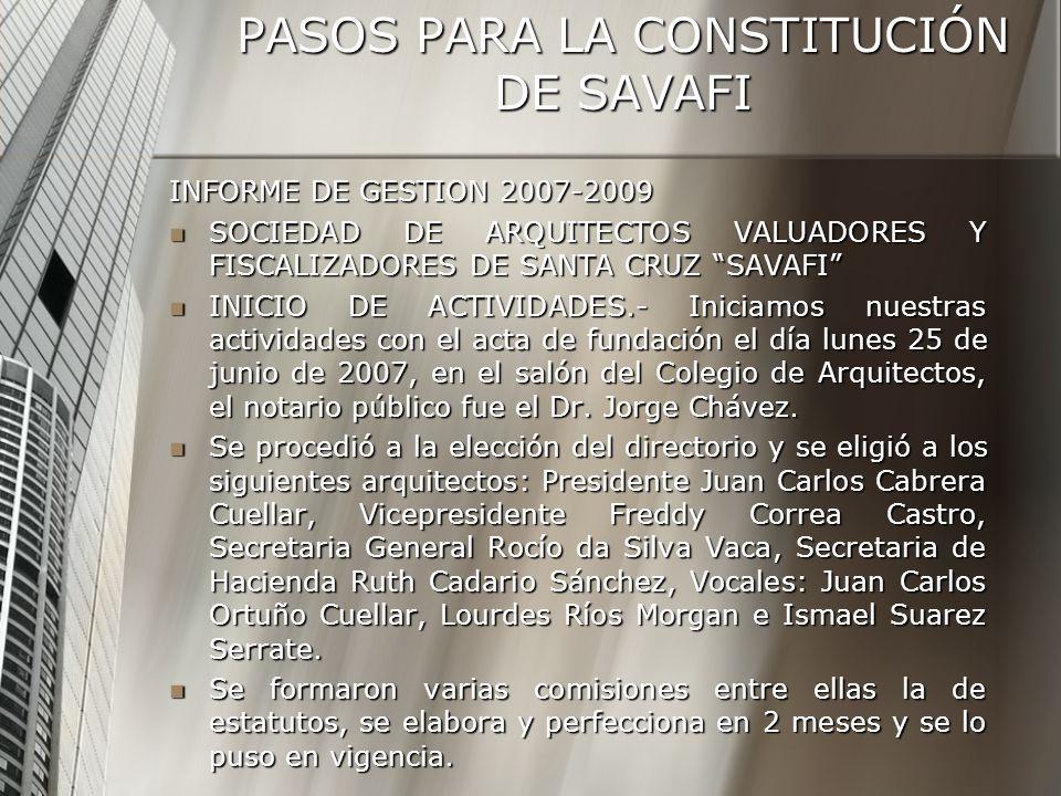 PASOS PARA LA CONSTITUCIÓN DE SAVAFI