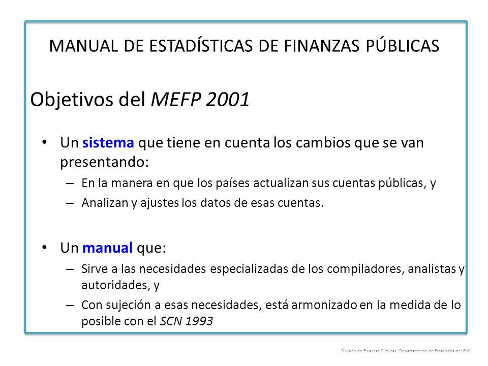 Objetivos del MEFP 2001 MANUAL DE ESTADÍSTICAS DE FINANZAS PÚBLICAS