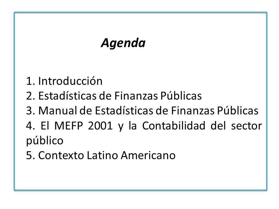 Agenda 1. Introducción 2. Estadísticas de Finanzas Públicas