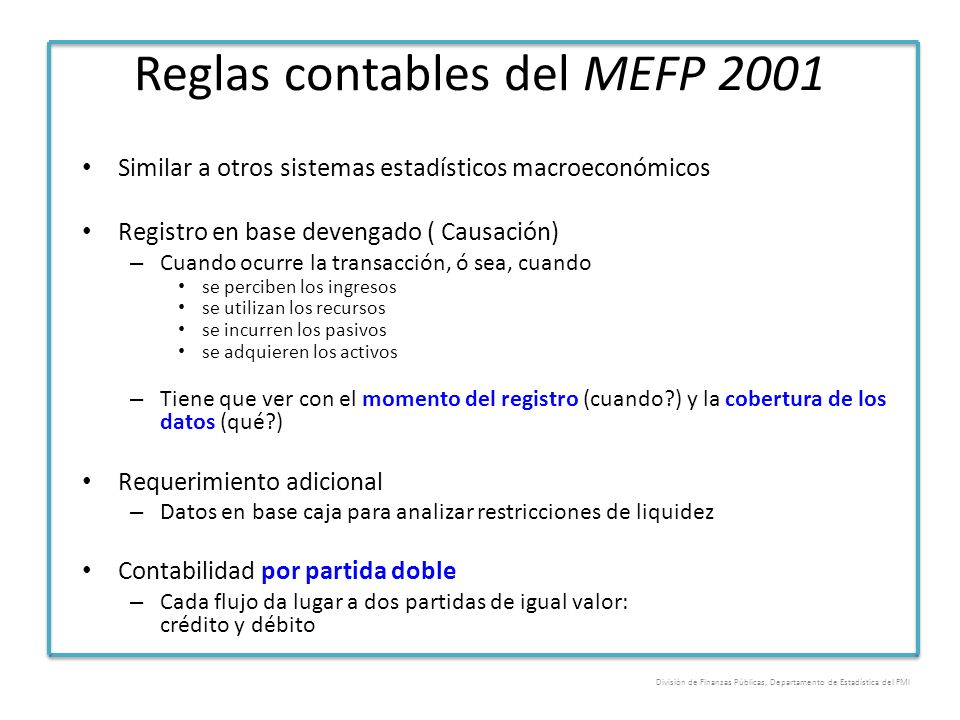 Reglas contables del MEFP 2001