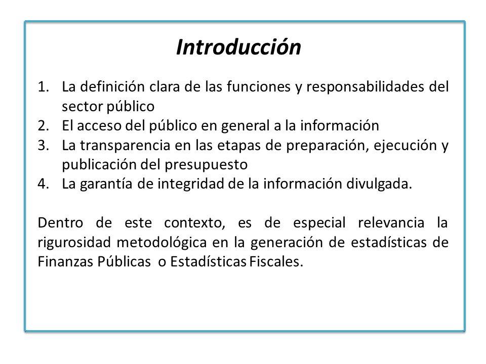 Introducción La definición clara de las funciones y responsabilidades del sector público. El acceso del público en general a la información.