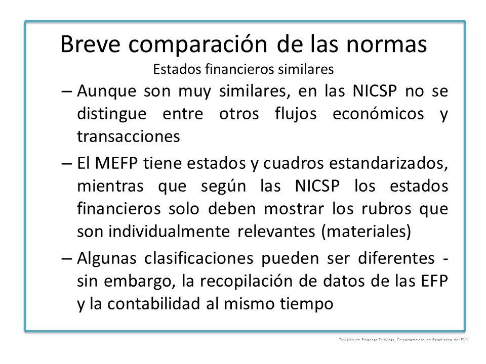 Breve comparación de las normas Estados financieros similares