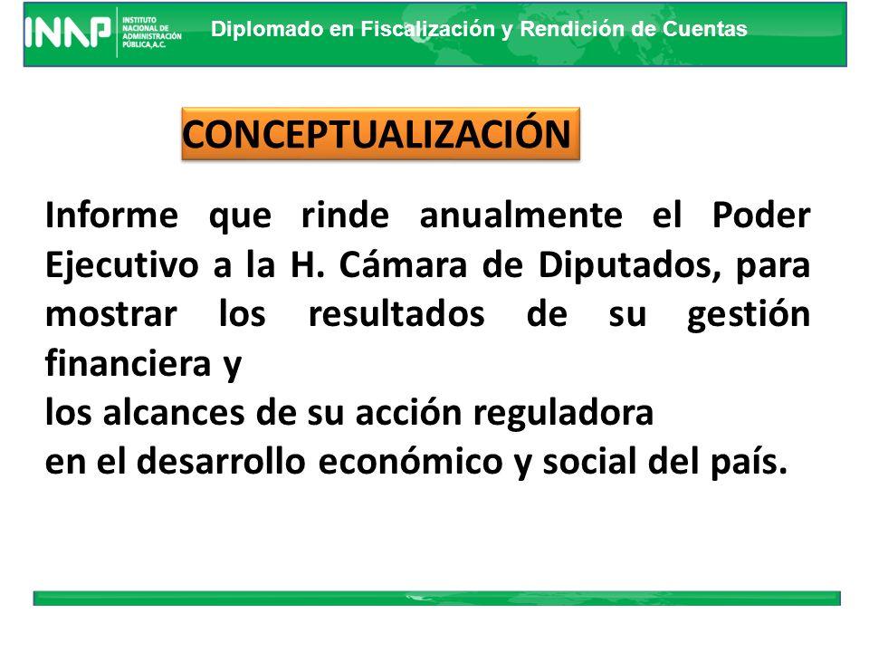 CONCEPTUALIZACIÓN Informe que rinde anualmente el Poder Ejecutivo a la H. Cámara de Diputados, para mostrar los resultados de su gestión financiera y.