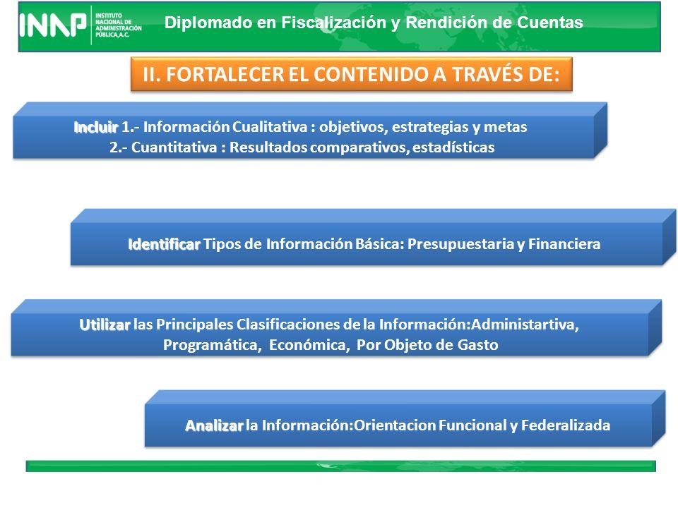II. FORTALECER EL CONTENIDO A TRAVÉS DE: