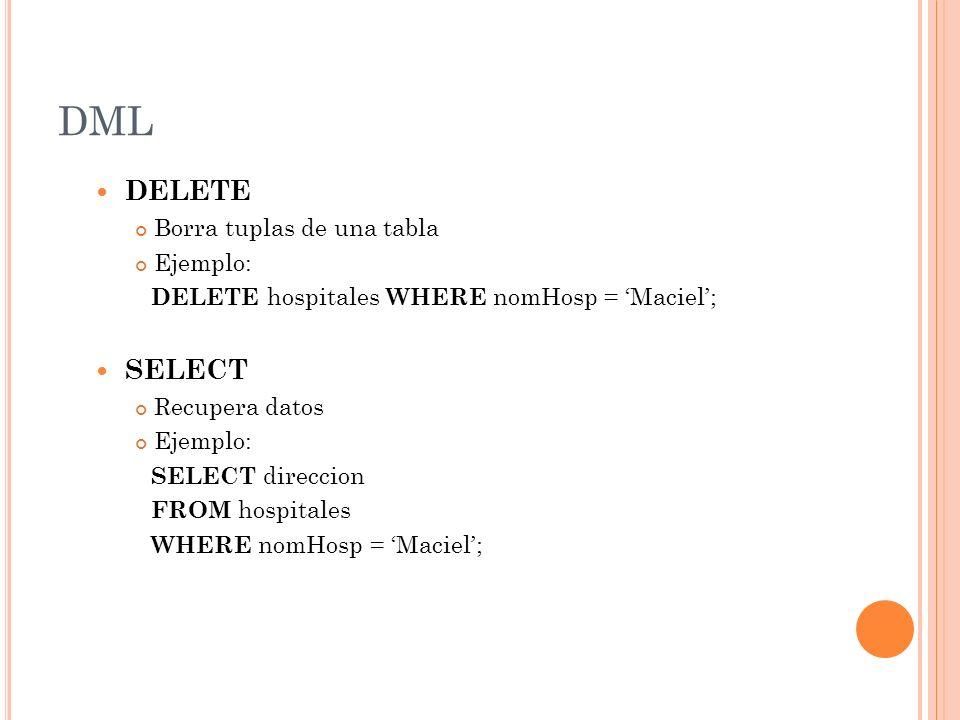 DML DELETE SELECT Borra tuplas de una tabla Ejemplo:
