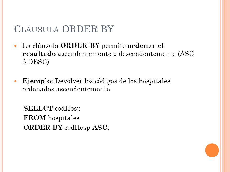 Cláusula ORDER BY La cláusula ORDER BY permite ordenar el resultado ascendentemente o descendentemente (ASC ó DESC)
