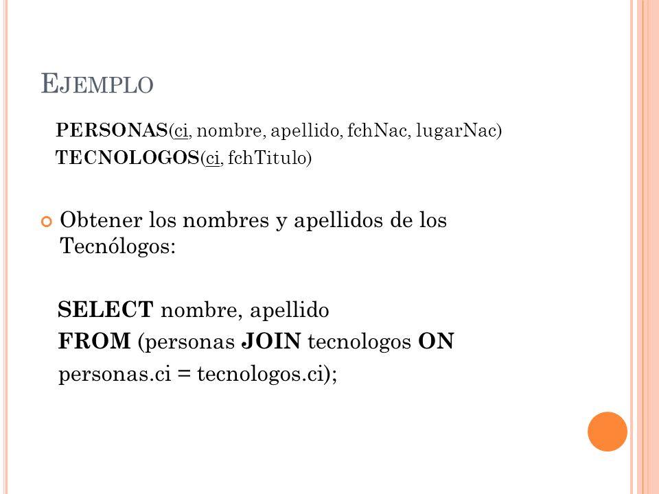 Ejemplo Obtener los nombres y apellidos de los Tecnólogos: