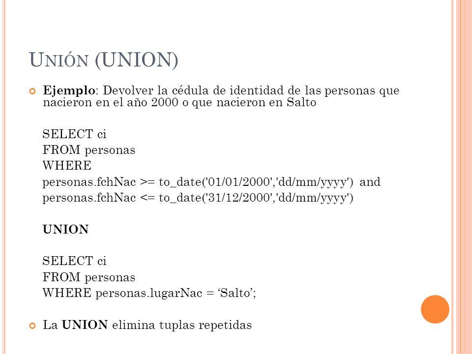 Unión (UNION) Ejemplo: Devolver la cédula de identidad de las personas que nacieron en el año 2000 o que nacieron en Salto.