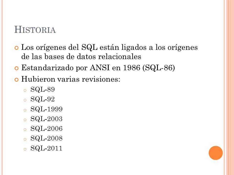 Historia Los orígenes del SQL están ligados a los orígenes de las bases de datos relacionales. Estandarizado por ANSI en 1986 (SQL-86)