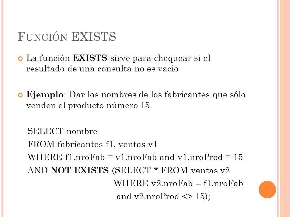 Función EXISTS La función EXISTS sirve para chequear si el resultado de una consulta no es vacío.